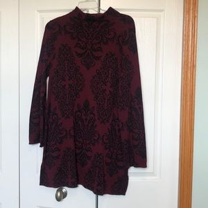 Style & Co Maroon and Black Knit Dress